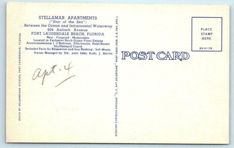 FORT LAUDERDALE, Florida FL - Roadside STELLAMAR APARTMENTS c1940s  Postcard