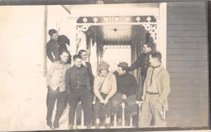 Real Photo Postcard~Group of Guys Laugh it Up~Victorian Front Porch~c1914 RPPC