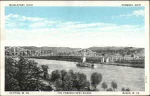 WV OH Bridge Middleport Pomeroy Clifton Mason c1920s Postcard #3