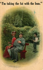 Vintage Postcard 1914 I'm Taking the Fat With the Lean Man & Woman Sitting Bench