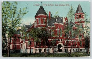 Eau Claire Wisconsin~High School Close Up~Round Corner Towers~Arch Door~c1910