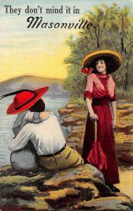 They Don't Mind It in Masonville Illinois~Couple on Rocks~Lady & Parasol~1913