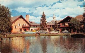 Sun Valley Idaho~Challenger Inn~Kids @ Lake Shore~Classic Cars Parked~1950s Pc