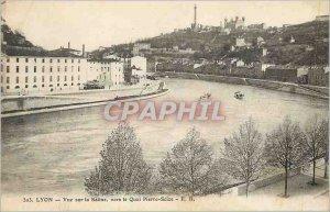 Postcard Old Lyon view towards Saone Quai Pierre Scize