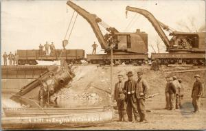 Cone Lake Iowa~CM&StP Cranes Lift Engine #285~Train Wreck Lost 2 Lives~1912 RPPC
