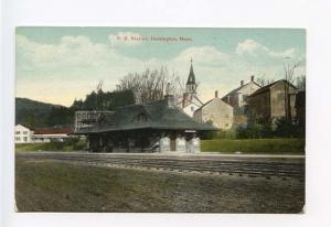 Huntington MA Railroad Station Train Depot Postcard