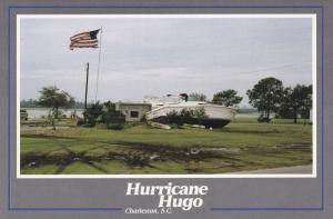CHARLESTON, South Carolina; Hurrican Hugo Aftermath, Yacht on land,  Septembe...