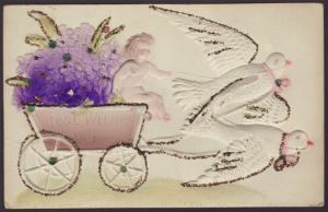 Best Wishes,Doves Pulling Cart,Embossed