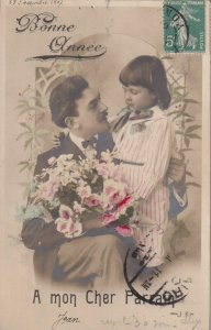 RP: NEW YEAR, PU-1902; Father and Child, Bouquet of flowers