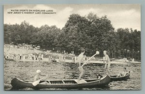 HIGHLAND LAKES NJ WATER SPORTS ANTIQUE POSTCARD