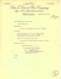 PHILADELPHIA - JOHN F LEWIS & BROTHERS 1916 / LETTERHEAD - lead oxide