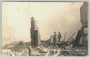 Decatur Illinois~Three Men Hold Fire Hose~Boy Watches~1909 Smoking Ruins~RPPC