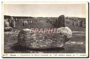 Old Postcard Dolmen Menhir Carnac alignments MenC