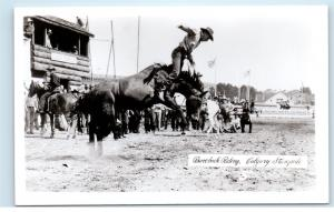 1950s Calgary Stampede Bucking Horse Bareback Riding Real Photo Postcard C20