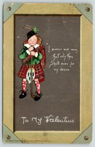 E Curtis Valentine~Scottish Boy on Chalkboard Slate~Ever Be My Dearie~Kilt~TUCK
