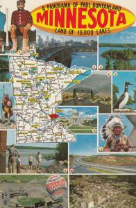 Minnesota Paul Bunyanland Map Lakes Postcard