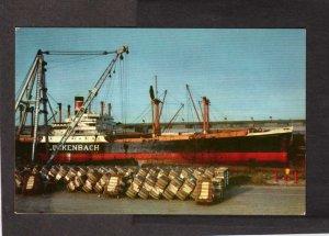 CA Ship UCKENBACH Loading Cotton Port Stockton California Postcard