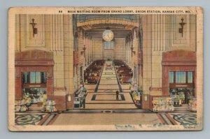 Main Waiting Room Grand Lobby Union Station Kansas City MO Missouri Postcard