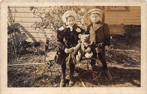 People and Children Photographed on Postcard, Old Vintage Antique Post Card G...