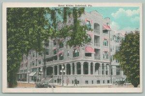 Lakeland FL~Hotel Kibler Close Up~Guests on Corner~Candy Stripe Awnings~1920s