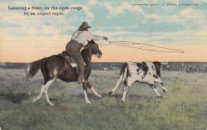 Lassoing a Steer, on the open range by an expert roper, 1907