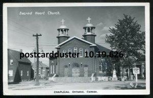 626- CHAPLEAU Ontario 1930s Street View Sacred Heart Church Real Photo Postcard
