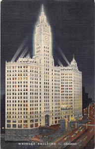 Chicago - Wrigley Building, auto cars, illuminated at night 1964