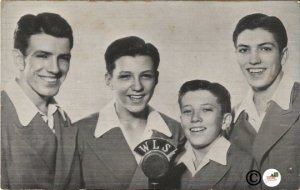 Williams Brothers Boy Band Singers Vintage Postcard Black and White Photograph