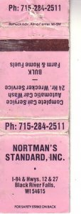 Matchbook Cover ! Nortman's Standard Inc., Black River Falls, Wisconsin !
