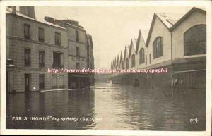 Old Postcard paris Flooding inundates Rued e Bercy West Coast