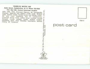 Unused Pre-1980 WANDLYN MOTEL Campbellton New Brunswick NB o0282