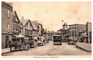 Rhode Island  Westerly , West Broad Street , Trolley in Street
