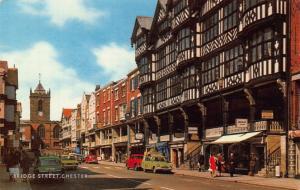 Chester Bridge Street Vintage Cars Tower Clock Postcard