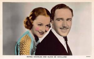 Patric Knowles and Olivia de Havilland Warner Postcard