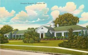 Douglas Georgia~Douglas Hospital~Fluffy Clouds~1943 Linen Postcard