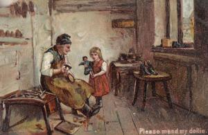 Please Mend My Toy Doll Dollmaker Repair Antique Postcard