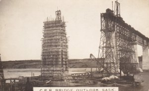 RP: C.P. Railroad Bridge Construction , OUTLOOK , Saskatchewan , Canada ,1910s