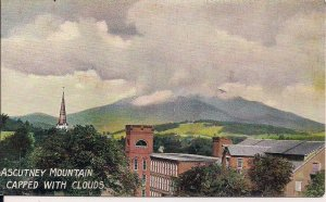 Windsor VT, Mount Ascutney, Mill, Church, Clouds, 1910 German Litho