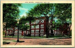 Janesville, Wisconsin Postcard HIGH SCHOOL Street View Kropp c1930s Unused