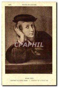 Postcard Old Raphel Sanzio Portrait Of Young Man Louvre Museum