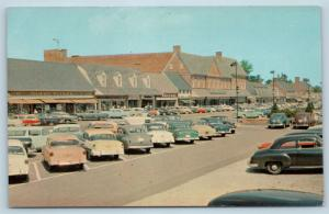 Postcard MD Baltimore Edmondson Village Shopping Center Strip Mall 1950s Cars N4