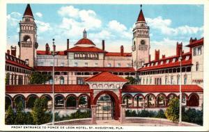 Florida St Augustine Hotel Ponce De Leon Front Entrance Curteich