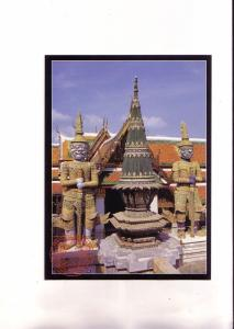 Large 5 X 7 inch Inlaid Statues Guard Thailand Temple,.Trails of Indochina