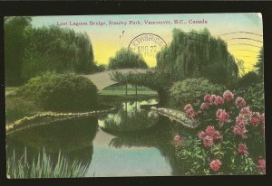 Postmarked 1946 Vancouver BC Lost Lagoon Bridge Stanley Park Color Postcard