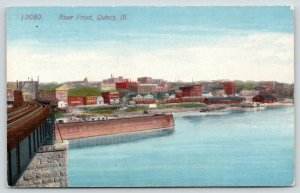 Quincy Illinois~River Front Panorama From Atop Railroad Bridge~Warehouses~c1910