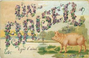 Embossed floral french text  Un Baiser  Kiss luck pig cochon greetings