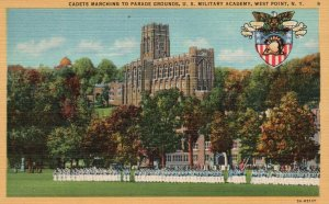 West Point, NY, U.S. Military Academy, Cadets Marching, 1935 Postcard g2001