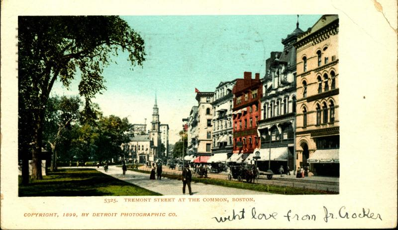 BOSTON MA, LOT OF 2! Tremont St Common, Frog Pond, 1900 Vintage Postcards MA8061