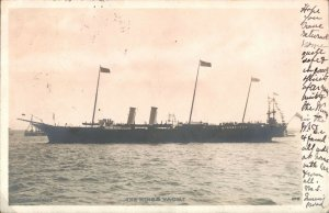 Antique RPPC photograph postcard The Kings Yacht at sea shipping steamer
