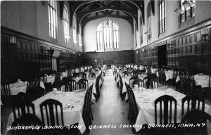 H14/ Grinnell Iowa RPPC Postcard c40s Interior College Dining Room